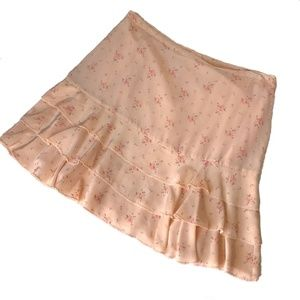 Odille peach floral tiered silk skirt size 10